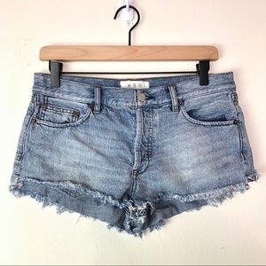 Free People Button Fly Cut Off Denim Jean Shorts